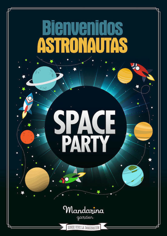 Space party birthday party. Enjoy with space and planets