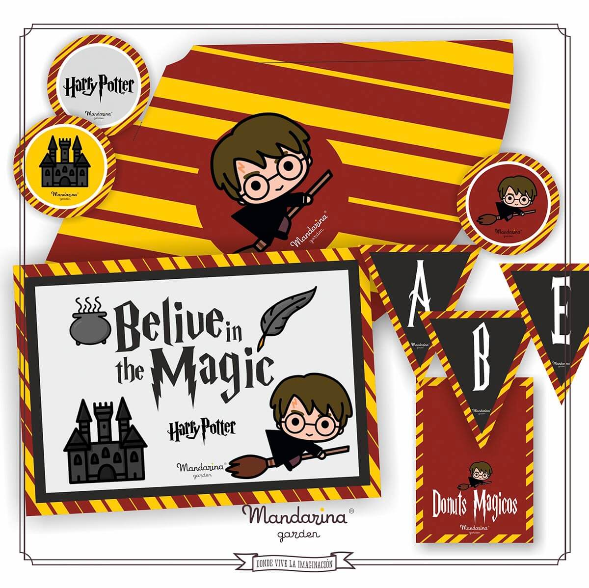 Decoration kit to celebrate your birthday at home themed by Harry Potter