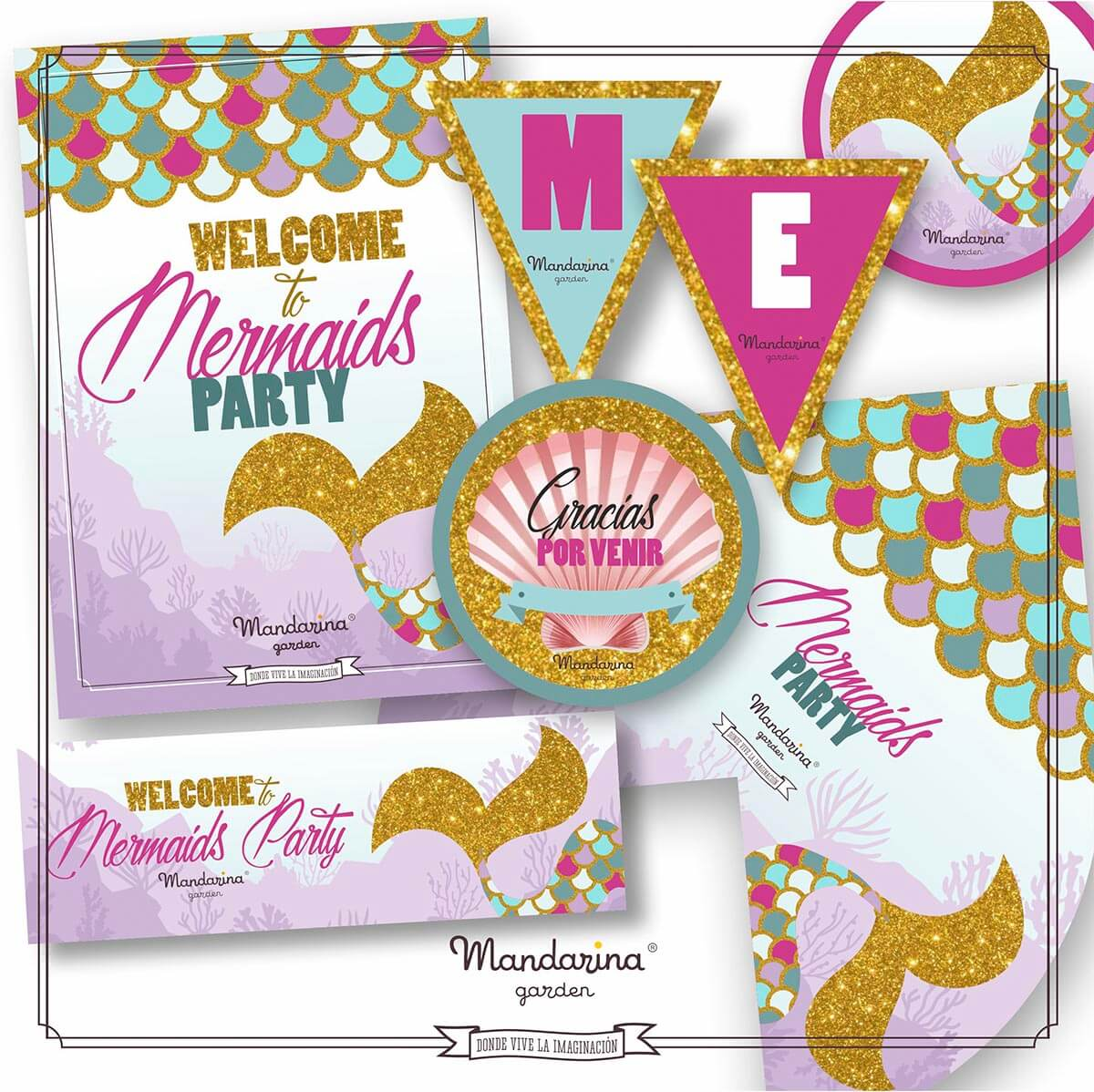 Decoration kit to celebrate your birthday at home themed bye Mermaid