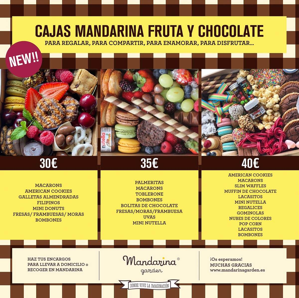 Mandarina garden Delivery. Fruit and candy boxes to give away, share, enjoy, fall in love ...