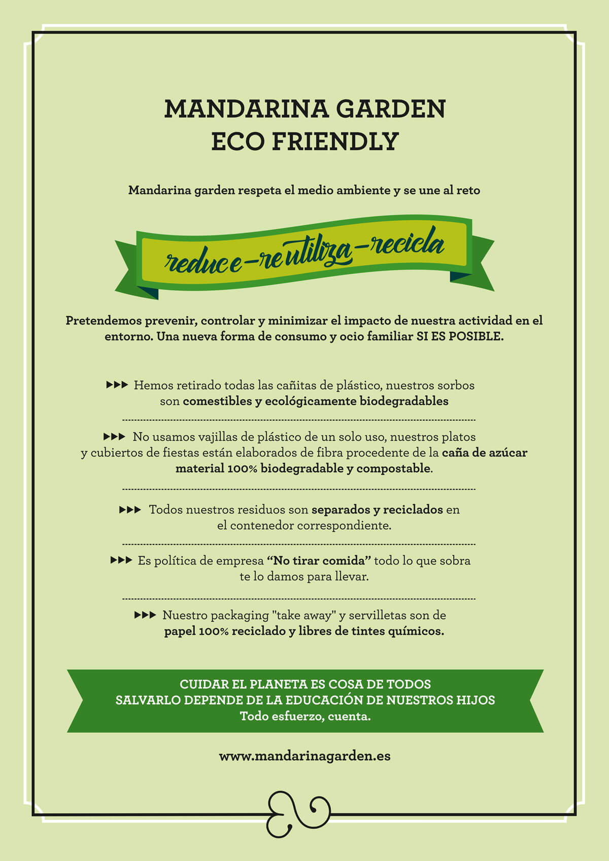Mandarina garden business policy for environmental sustainability